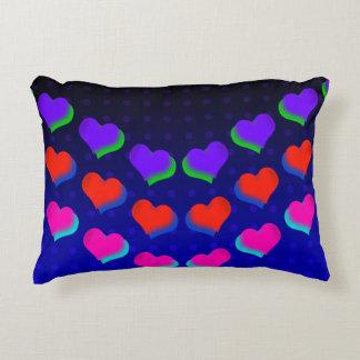 Neon Dark Hearts Retro Accent Pillow