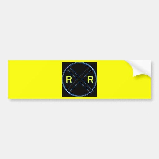 Neón de la muestra de la travesía de ferrocarril etiqueta de parachoque
