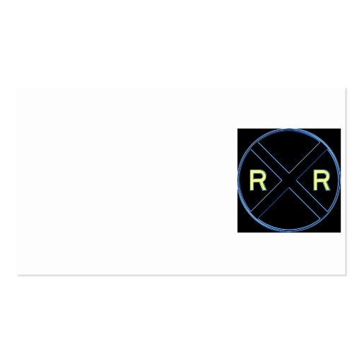 Neón de la muestra de la travesía de ferrocarril plantillas de tarjetas de visita