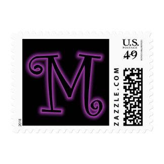 Neón de la púrpura del monograma de M Sellos
