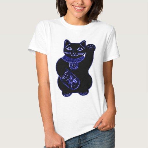neón del azul del neko del maneki tee shirts