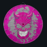 "Neon Demon Dart Board<br><div class=""desc"">Graphic demon skull is so wicked and colorful.  This evil skull will add some color to your life and get you noticed!</div>"