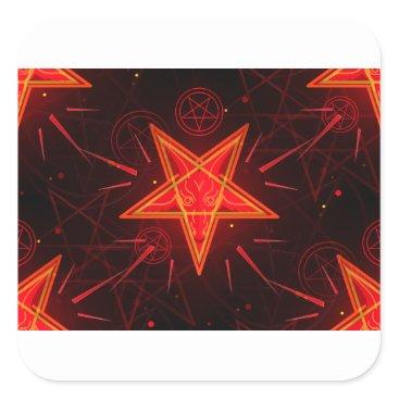 Halloween Themed neon demon square sticker