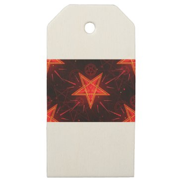 Halloween Themed neon demon wooden gift tags