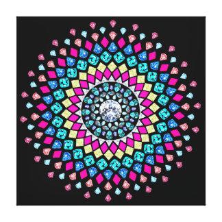 Neon Diamond Explosion Mandala Canvas