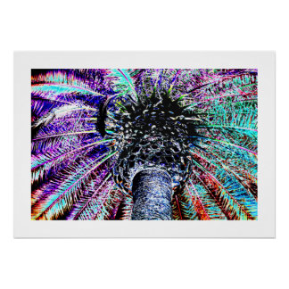 Neon Digitally Enhanced Palm Tree Poster