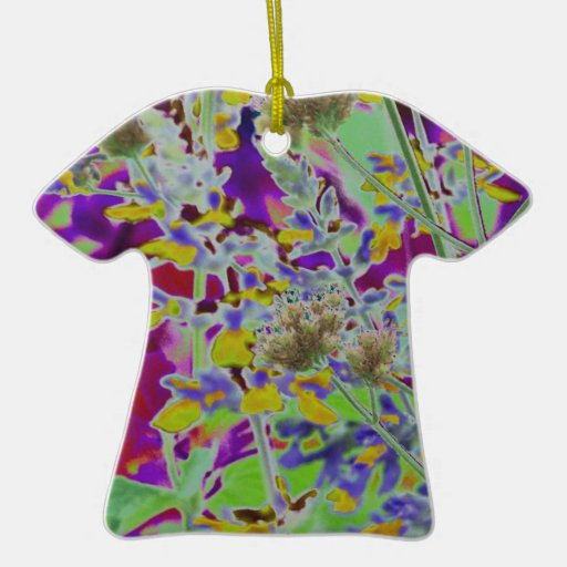 Neon digitized flower floral design background Double-Sided T-Shirt ceramic christmas ornament