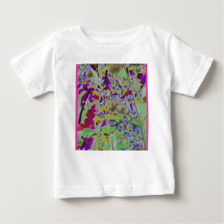 Neon digitized flower floral design background tees
