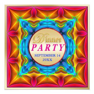 """Neon Dinner Party Invitations 5.25"""" Square Invitation Card"""