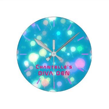 NEON DIVA DEN - Blue Lights Girls Personalized Round Clock