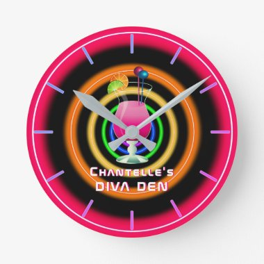 NEON DIVA DEN - Tropical Cocktails Personalized Round Clock