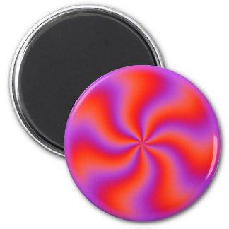 Neón divertido espiral hipnótico de la ilusión imán redondo 5 cm