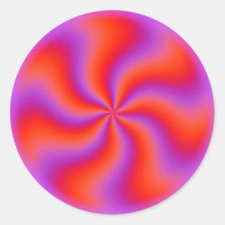 Neón divertido espiral hipnótico de la ilusión pegatina redonda