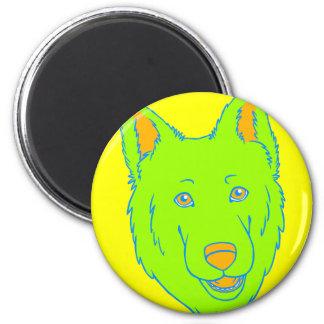 Neon Dog 2 Inch Round Magnet