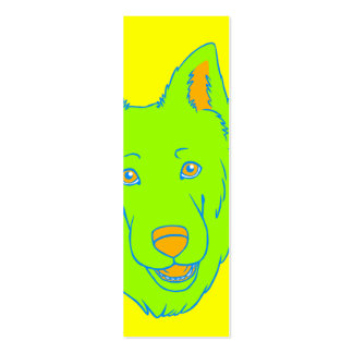 Neon Dog Bookmark Business Card Template