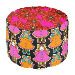 Neon dollies poppy print boho pouf