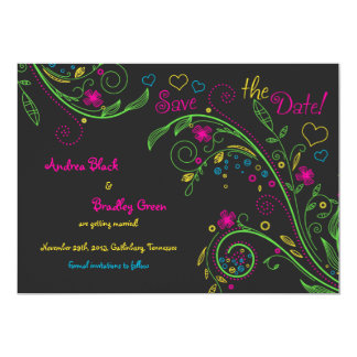 Neon Doodle Floral Wedding Save the Date Card