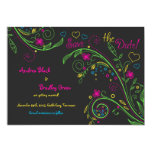 """Neon Doodle Floral Wedding Save the Date 5"""" X 7"""" Invitation Card"""
