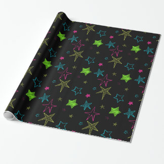 Neon Doodle Stars Wrapping Paper