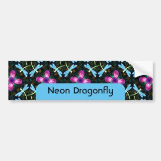 Neon Dragonflies Pink Flower Black Shimmer Pattern Bumper Sticker