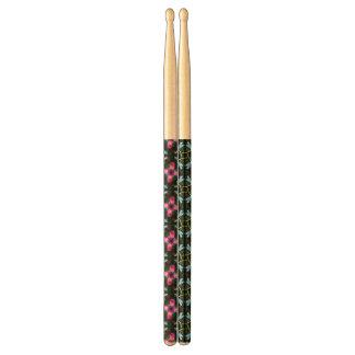 Neon Dragonflies Pink Flower Black Shimmer Pattern Drumsticks