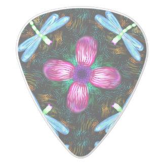 Neon Dragonflies Pink Flower Black Shimmer Pattern White Delrin Guitar Pick