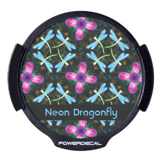 Neon Dragonflies Pink Flower Black Shimmer Pattern LED Car Window Decal
