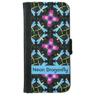 Neon Dragonflies Pink Flower Black Shimmer Pattern iPhone 6/6s Wallet Case