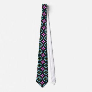 Neon Dragonflies Pink Flower Black Shimmer Pattern Neck Tie