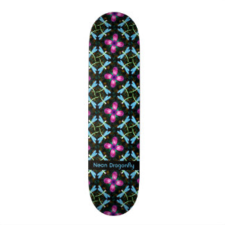 Neon Dragonflies Pink Flower Black Shimmer Pattern Skate Board Deck