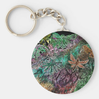 Neon dragonfly and butterflies keychain