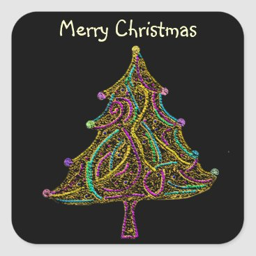 Christmas Themed Neon Electric Christmas Tree Square Sticker