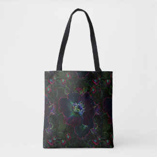 Neon Electric Rose Flower Garden Abstract Tote Bag