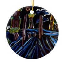 Neon Electric Trees Ceramic Ornament