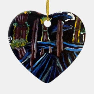 Neon Electric Trees Ceramic Ornament