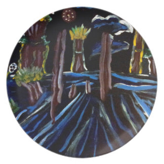 Neon Electric Trees Dinner Plate