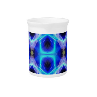 Neon Electrical Blue Abstract Pattern Beverage Pitcher