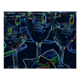 Neon Etched Black Light Effect Wine Lovers Poster