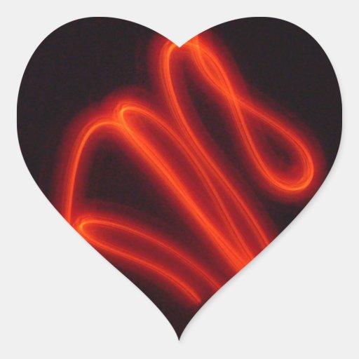 Neon Exposures Fire Heart Sticker