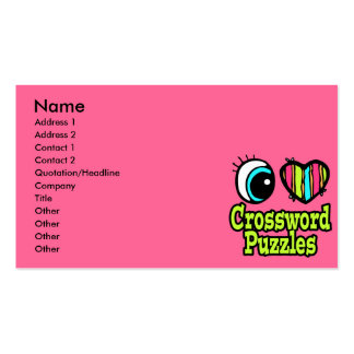 Neon Eye Heart I Love Crossword Puzzles Double-Sided Standard Business Cards (Pack Of 100)