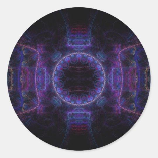 """Neon Fame"" Fractal Art Classic Round Sticker"