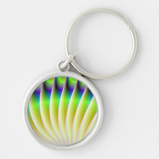 Neon Fan in Yellow Green and Blue Keychain