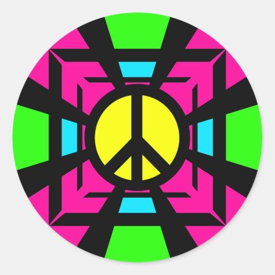 NEON FANTASY PEACE SIGN CLASSIC ROUND STICKER