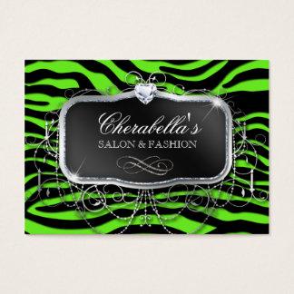 Neon Fashion Salon Zebra Glitter Green Modern Business Card