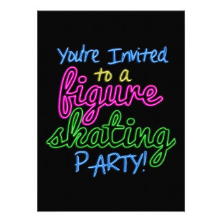 Neon Figure Skating Party Invitation