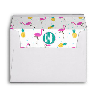 Neon Flamingos   Monogram Envelope