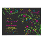 Neon Floral Chalkboard Doodle Wedding Invitation