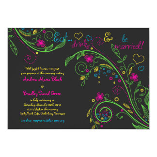 Neon Floral Chalkboard Doodle Wedding Invitation