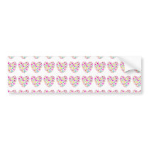 Neon Floral Love Hearts Pattern Bumper Sticker