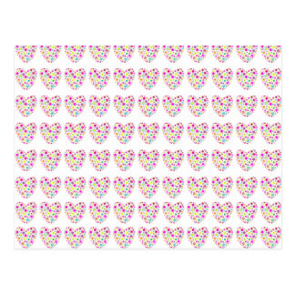 Neon Floral Love Hearts Pattern Postcard